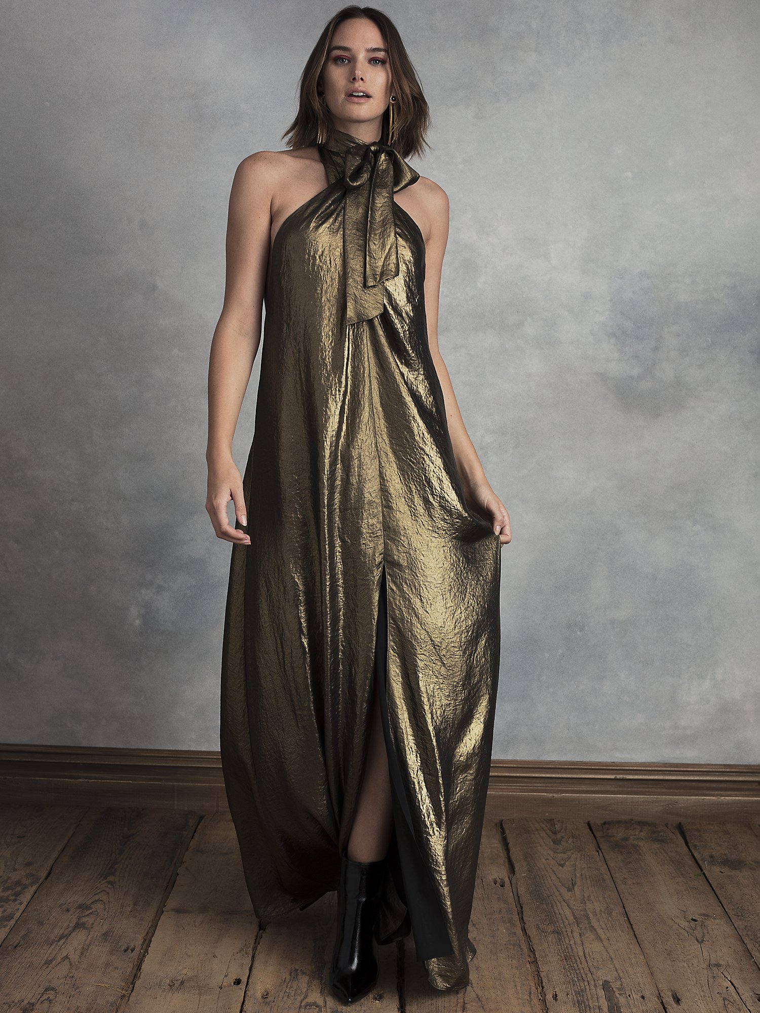 70s Dresses – Disco Dress, Hippie Dress, Wrap Dress Womens Journey Wrap Front Maxi Dress With Recycled Polyester in Rich Gold  Size Small by HappyxNature $64.00 AT vintagedancer.com