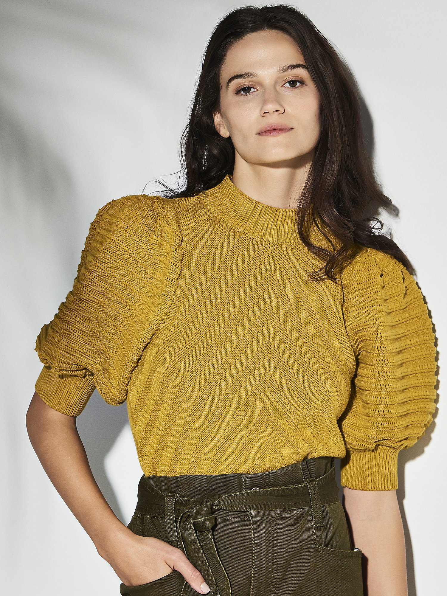 Vintage Tops & Retro Shirts, Halter Tops, Blouses Womens Morningstar Sweater With Recycled Cotton in Italian Olive  Size XXLARGE by HappyxNature $61.60 AT vintagedancer.com