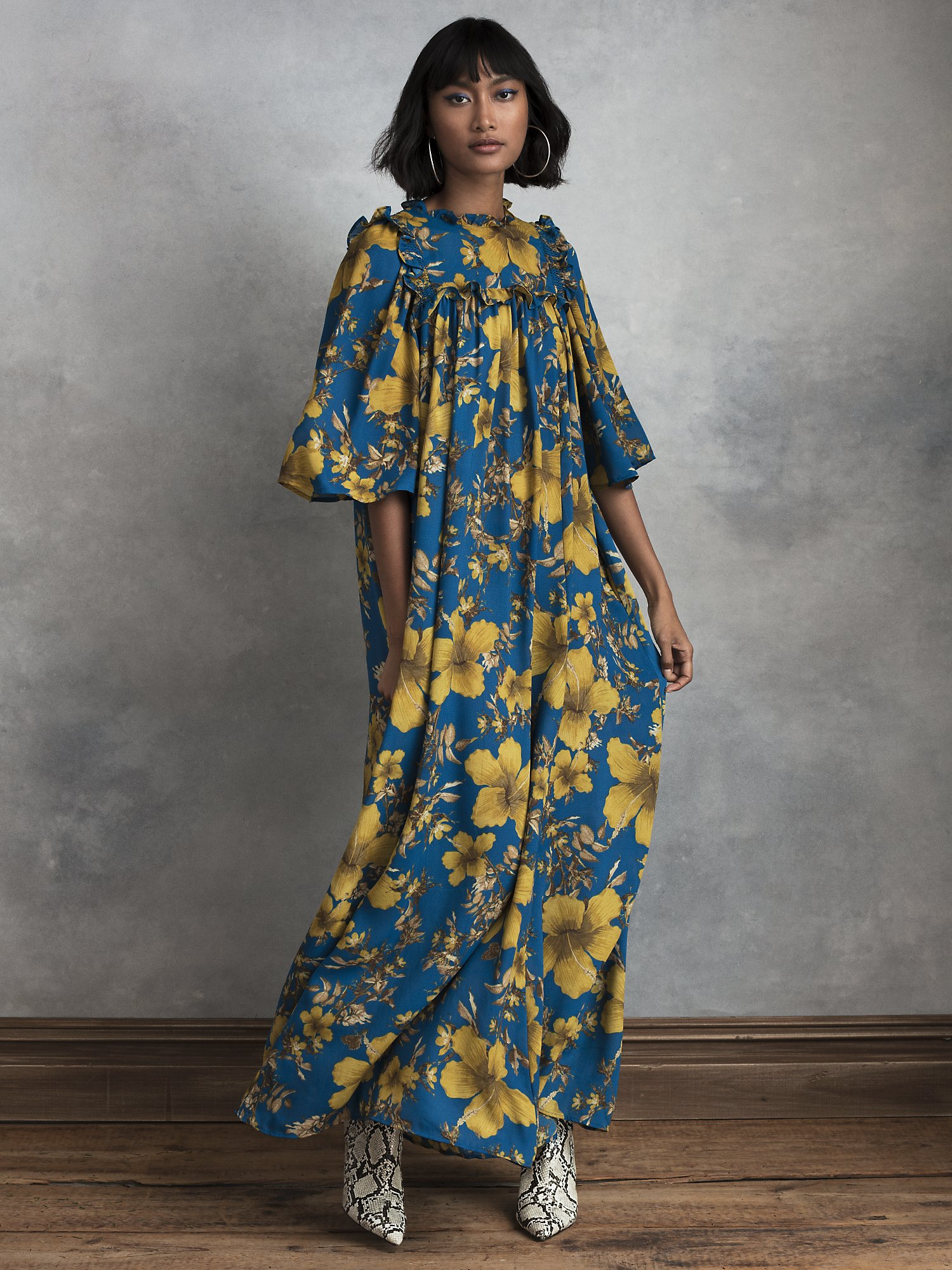 500 Vintage Style Dresses for Sale | Vintage Inspired Dresses Womens Nola Recycled Polyester Maxi Dress in Blue Sapphire Hibiscus  Size X-Large by HappyxNature $84.00 AT vintagedancer.com